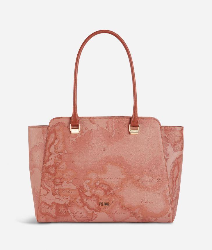 Geo Caramel shopping bag in Geo Terracotta fabric,front