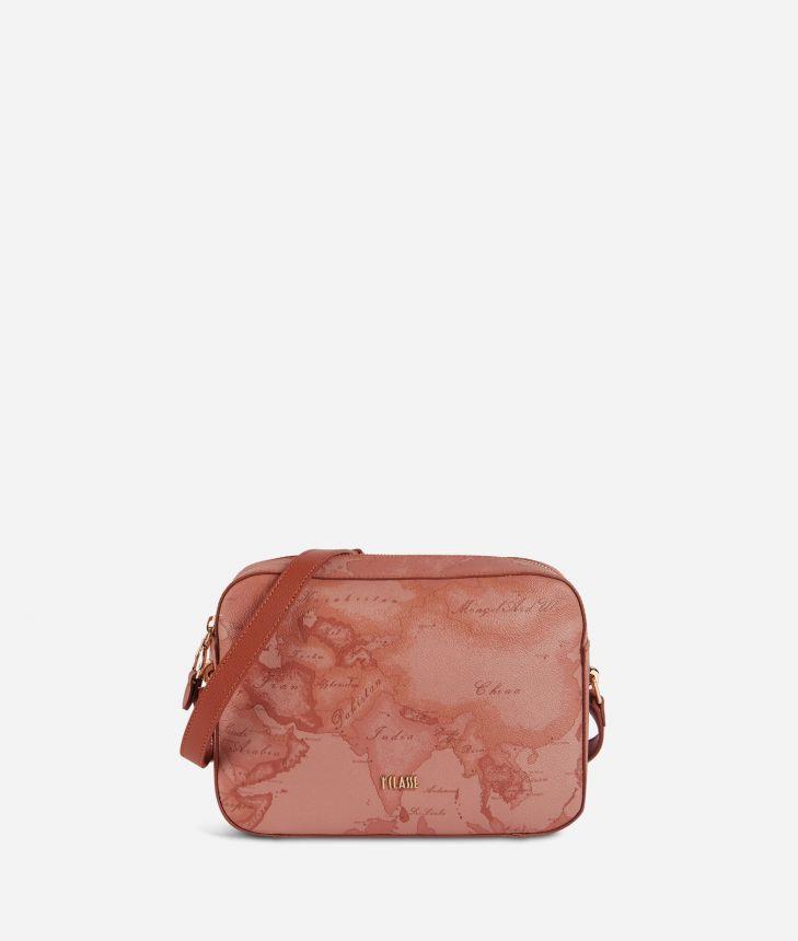 Geo Caramel shoulder bag in Geo Terracotta fabric,front