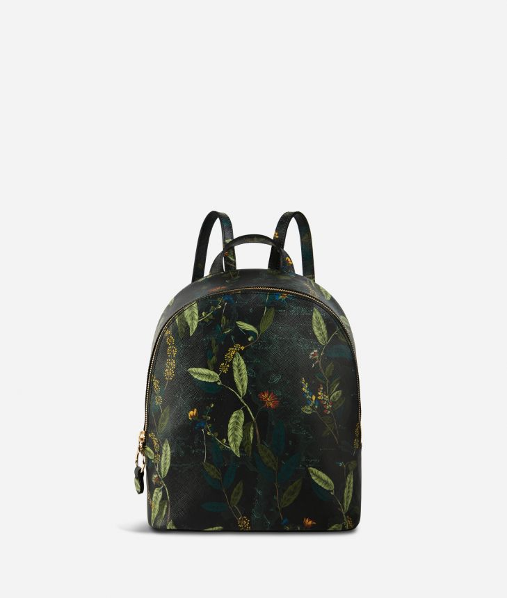 Winter Foliage backpack in saffiano embossed fabric with foliage print fir green,front