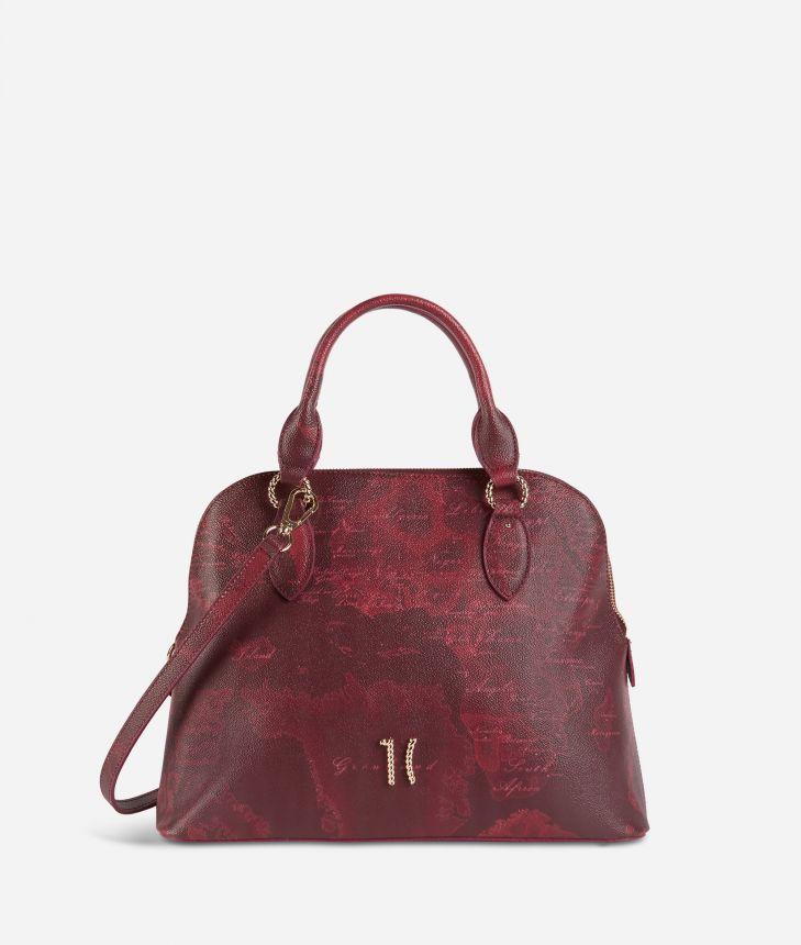 Geo Rouge handbag in Geo Merlot fabric,front