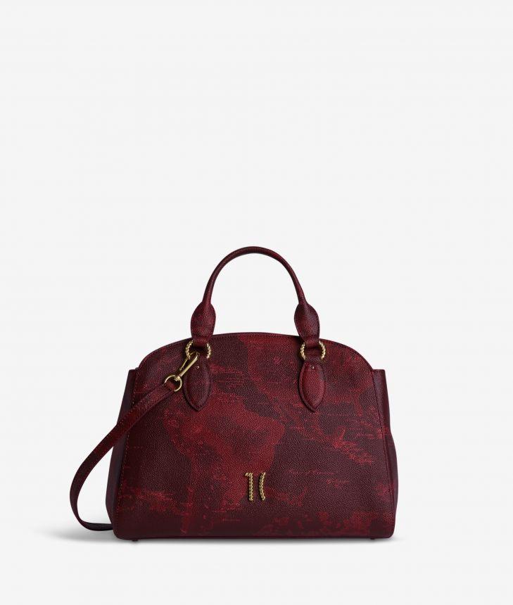 Geo Rouge handbag with shoulder strap in Geo Merlot fabric,front