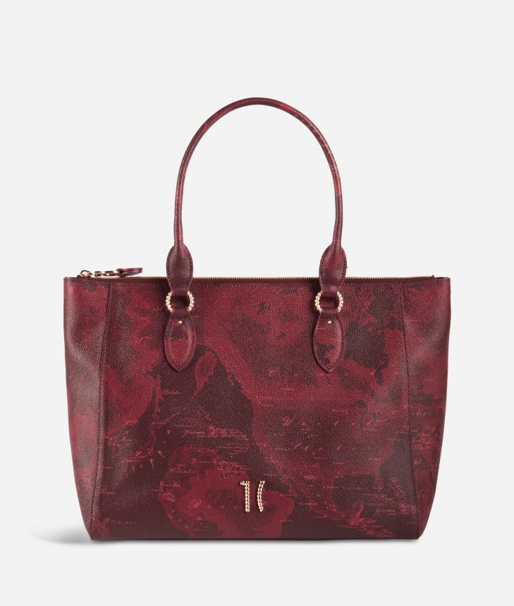Geo Rouge shopping bag in Geo Merlot fabric,front