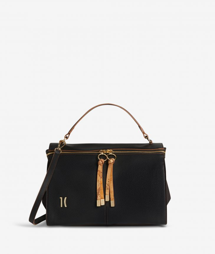 Ballet tote bag in black fine-grain leather,front