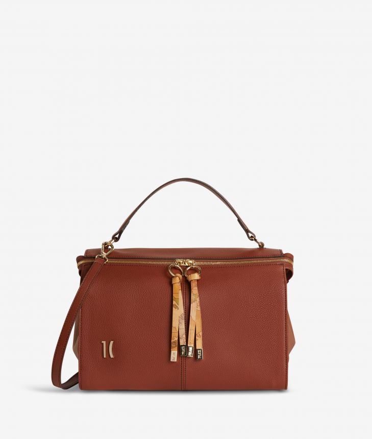Ballet tote bag in terracotta brown fine-grain leather,front