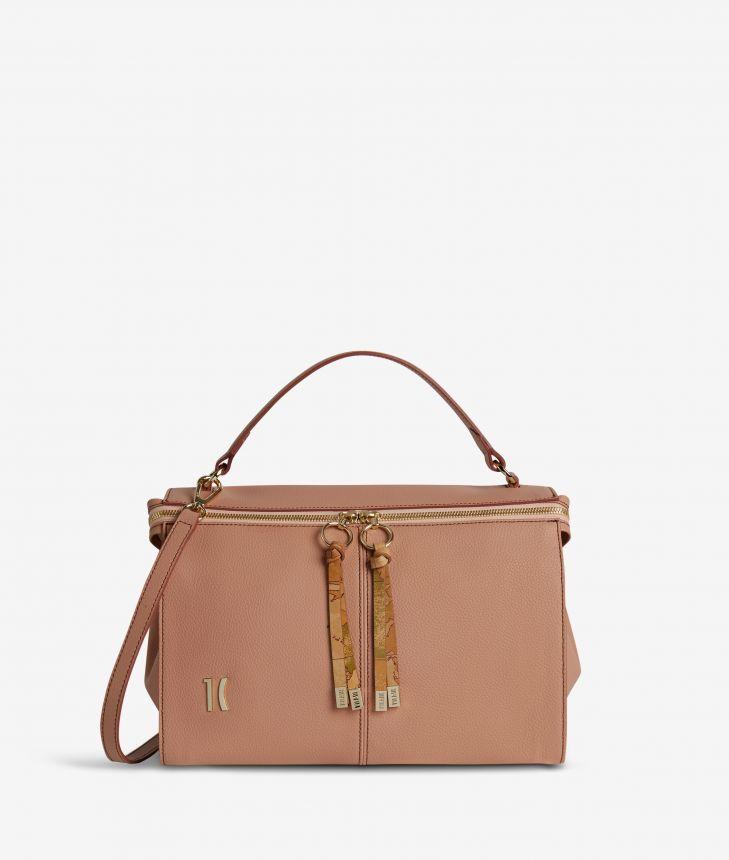 Ballet tote bag in cinnamon fine-grain leather,front