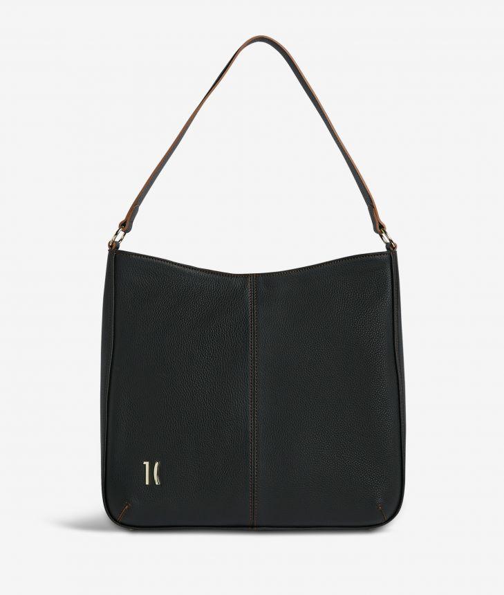 Ballet hobo bag in black fine-grain leather,front