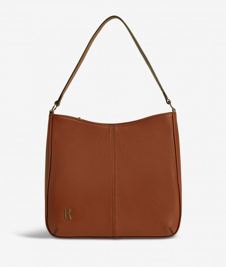 Ballet hobo bag in terracotta brown fine-grain leather,front