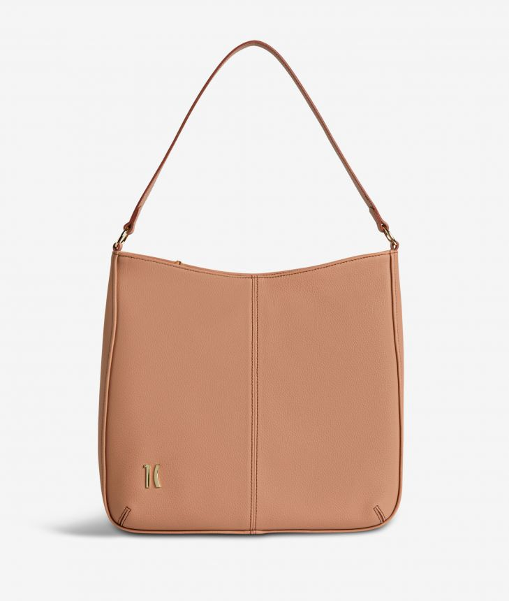 Ballet hobo bag in cinnamon fine-grain leather,front
