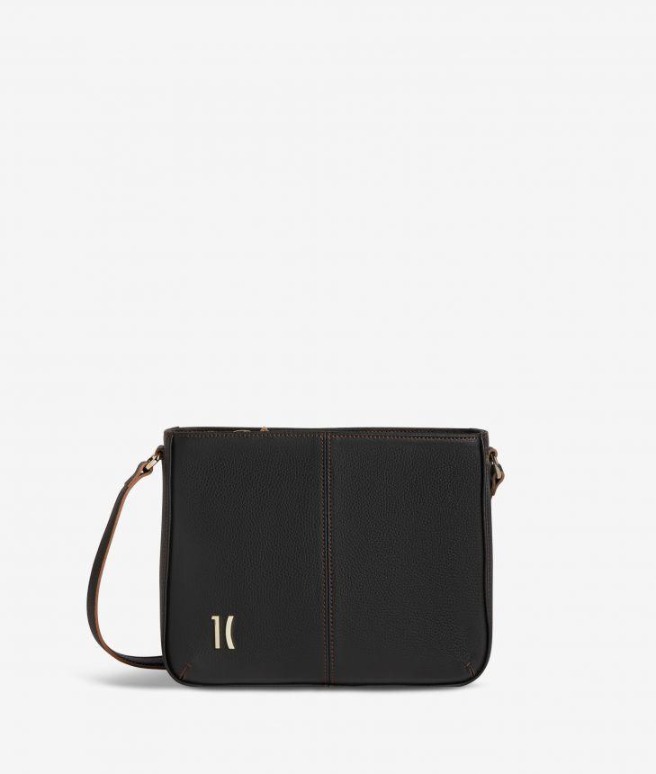 Ballet shoulder bag in black fine-grain leather,front