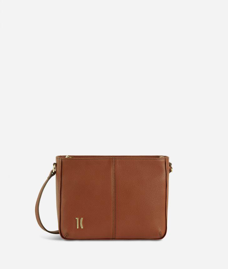 Ballet shoulder bag in terracotta brown fine-grain leather,front