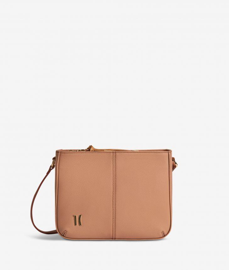 Ballet shoulder bag in cinnamon fine-grain leather,front