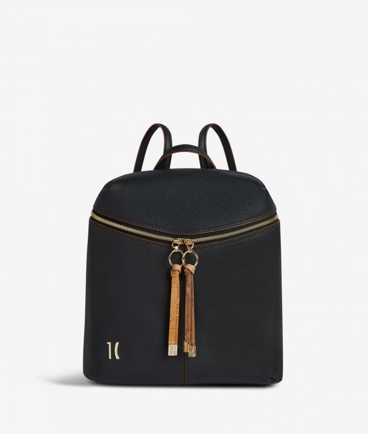 Ballet backpack in black fine-grain leather,front