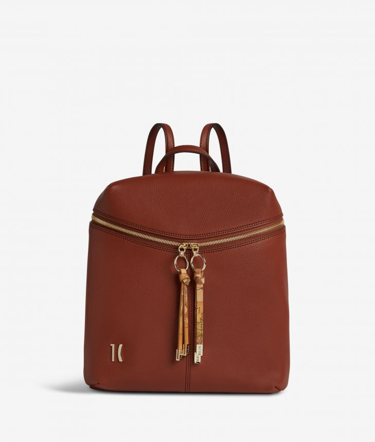 Ballet backpack in terracotta brown fine-grain leather,front