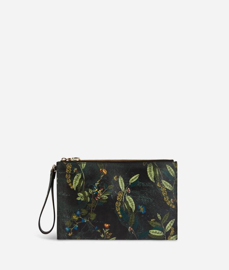 Winter Foliage clutch in saffiano embossed fabric with foliage print fir green,front