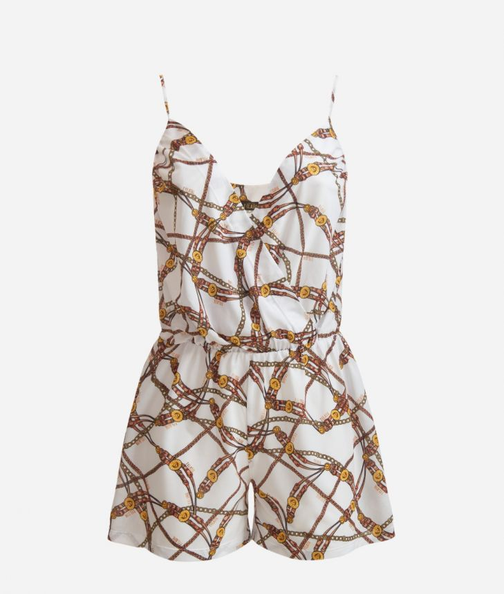 Crêpe Jumpsuit with Geo Catene print White,front