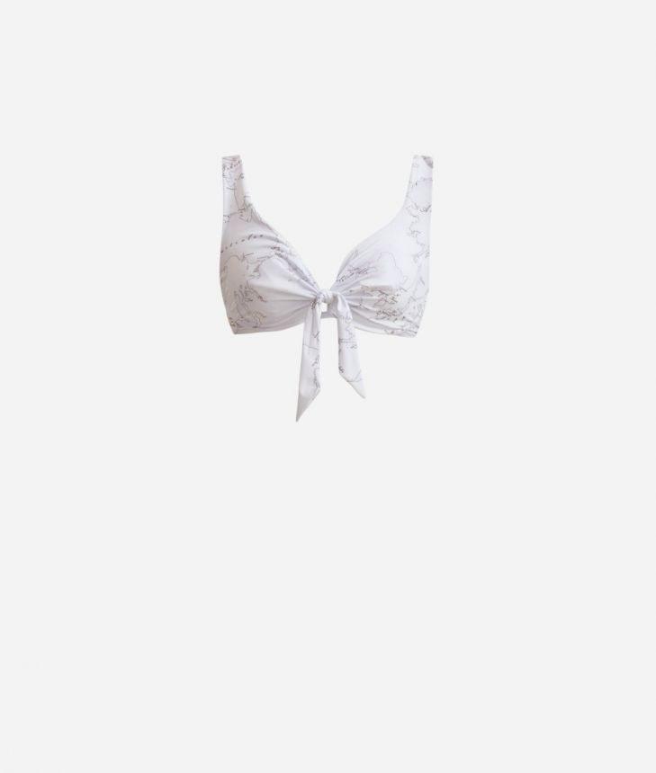 Triangle bikini bra with bow and underwired Geo Color print White,front