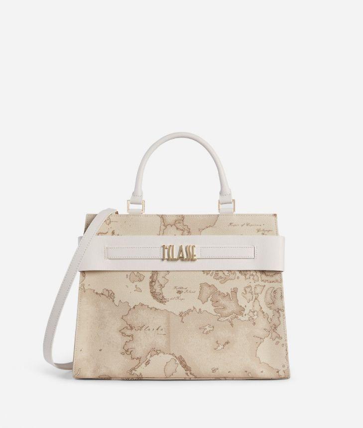 Stylish Bag Handbag in Geo Safari fabric raffia,front