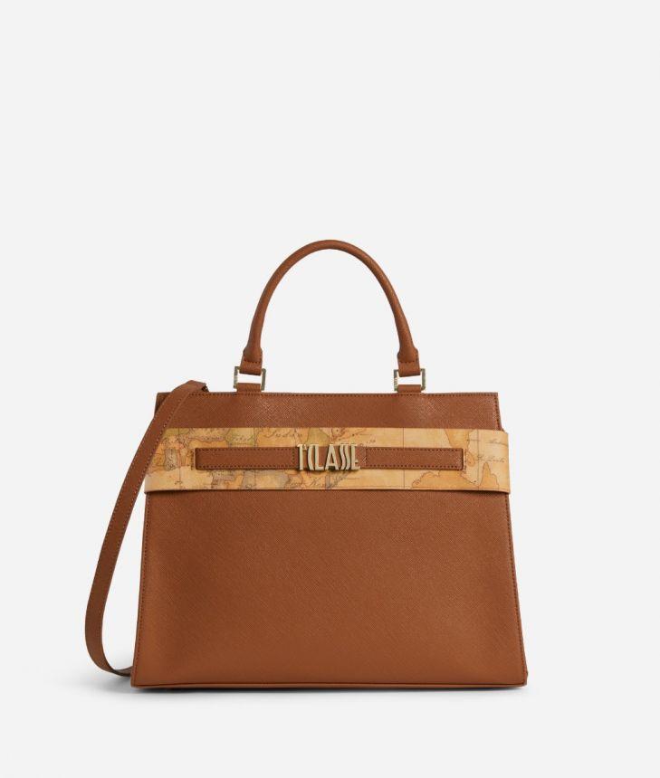 Stylish Bag Handbag in embossed saffiano Sienna color,front