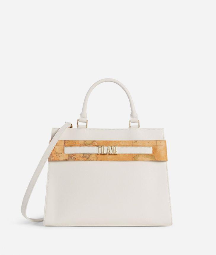 Stylish Bag Handbag in embossed saffiano pastel white,front