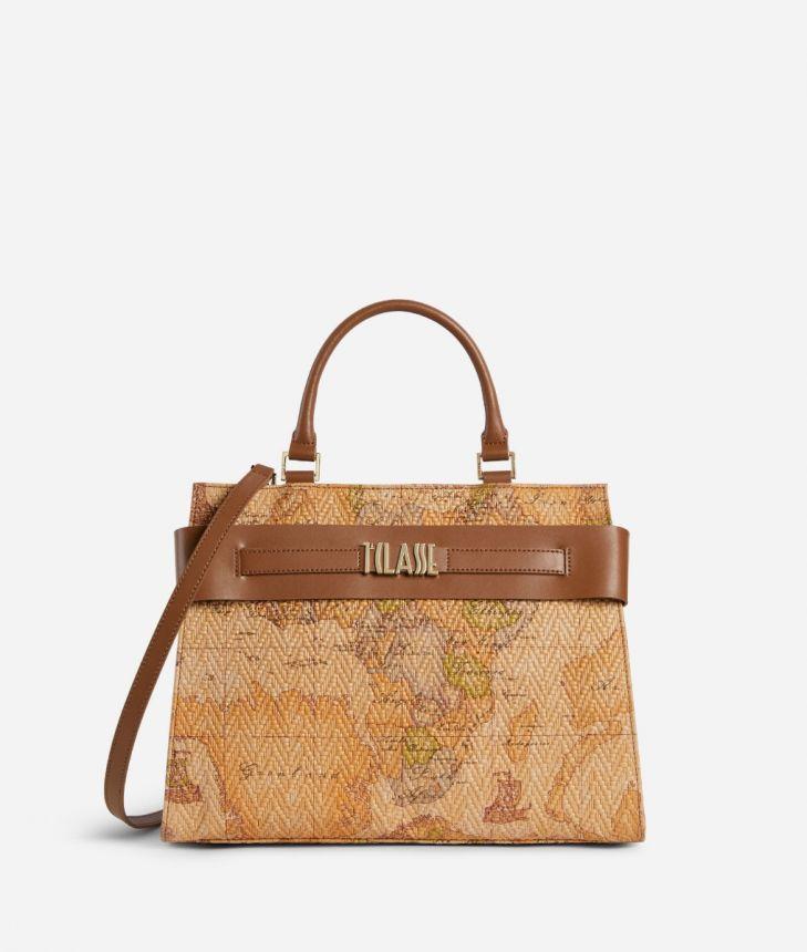 Stylish Bag Handbag in nappa leather Geo print,front