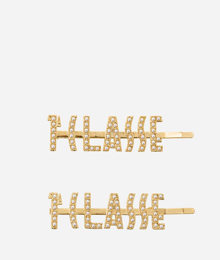 Gold-plated hair clips with 1a Classe logo,front