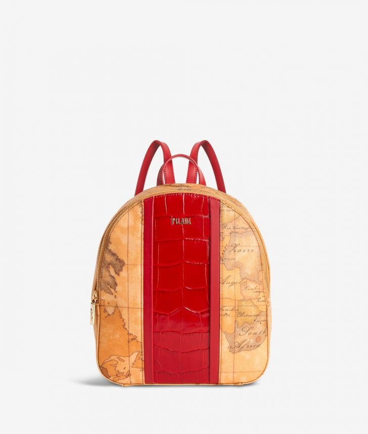 Geo Brilliant backpack in Geo Classic fabric and leather scarlet red,front