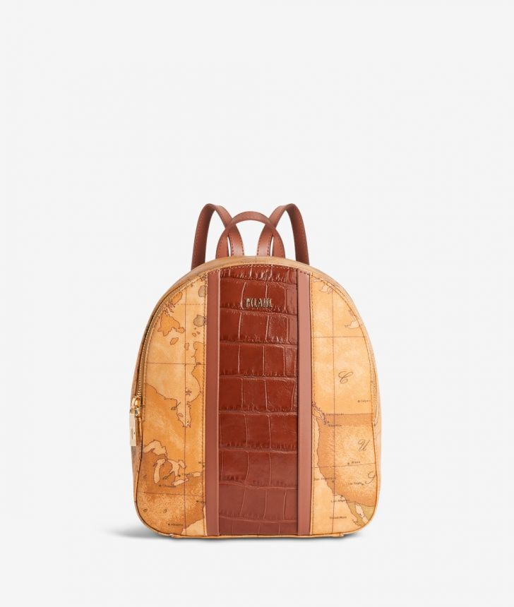 Geo Brilliant backpack in Geo Classic fabric and leather terracotta brown,front