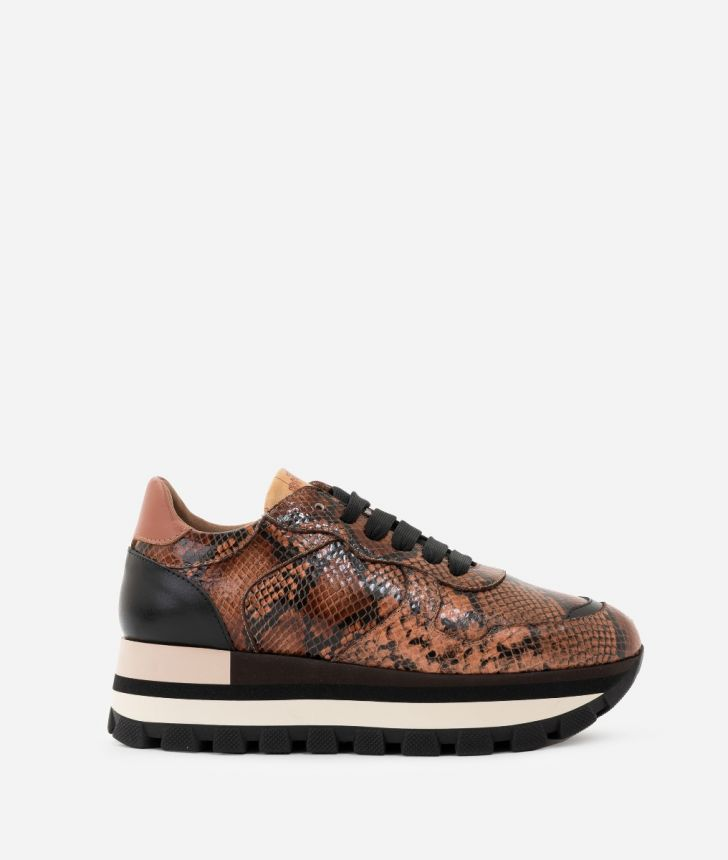 Sneakers in python print leather,front