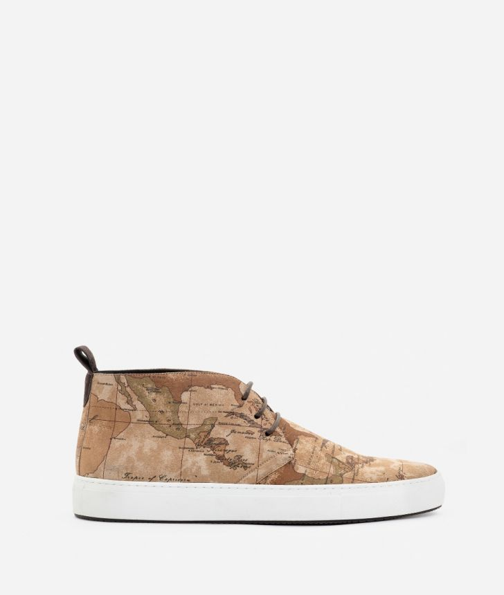 High sneakers in nabuk Geo Classic print,front