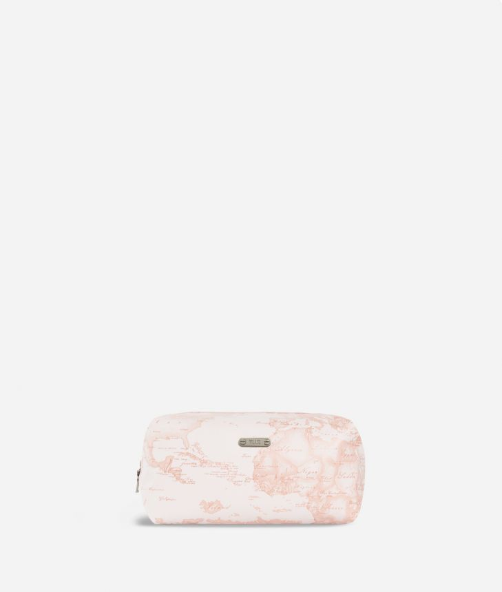 Large beauty case in pink Geo fabric,front