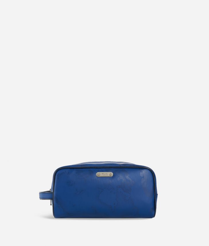 Rectangular beauty case in blue Geo fabric,front