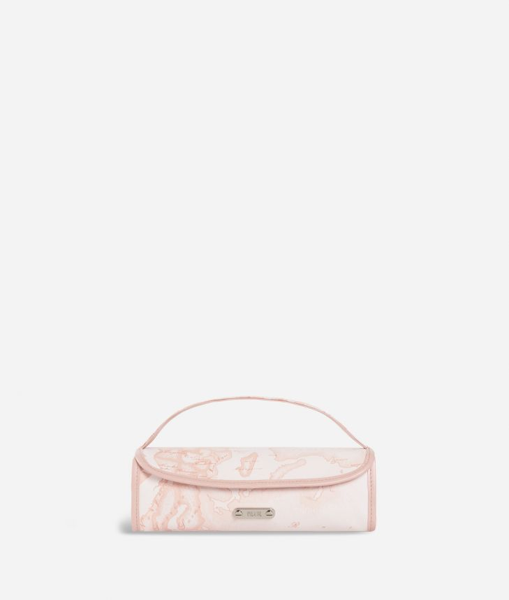 Travel wash bag in pink Geo fabric,front