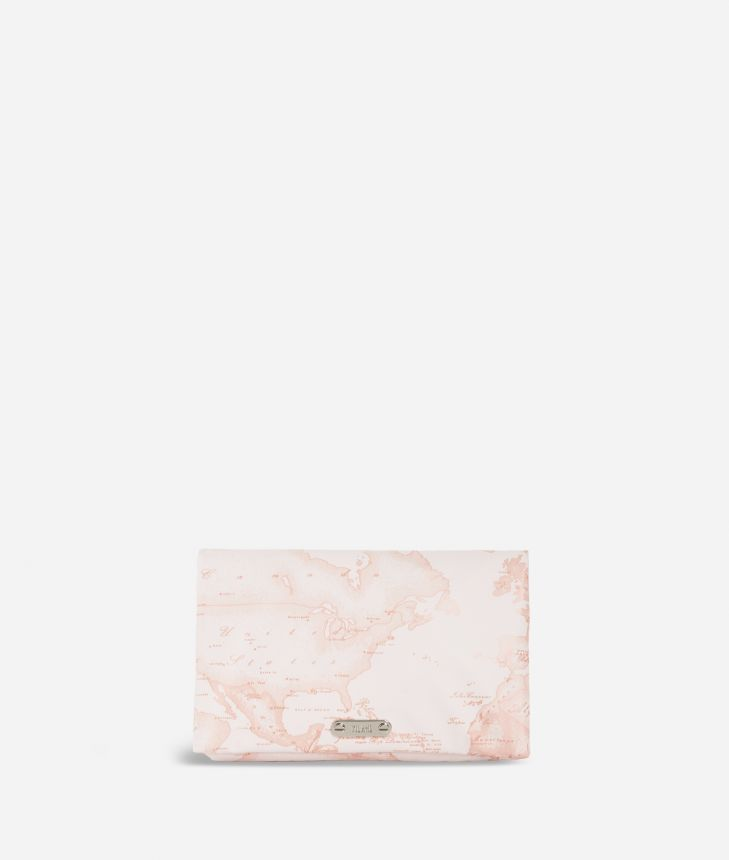 Travel beauty case in pink Geo fabric,front