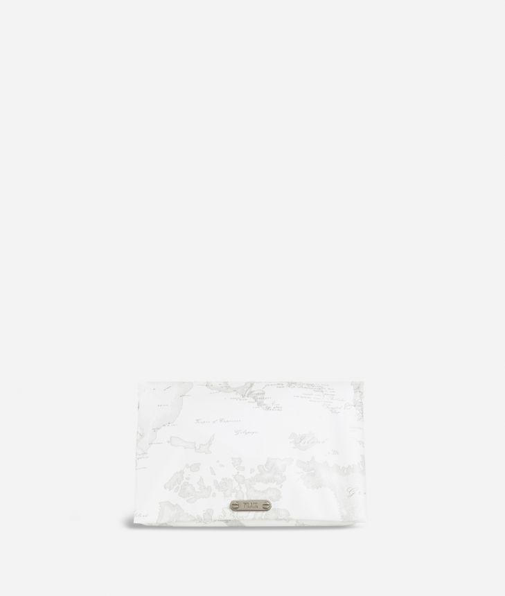 Travel beauty case in white Geo fabric,front