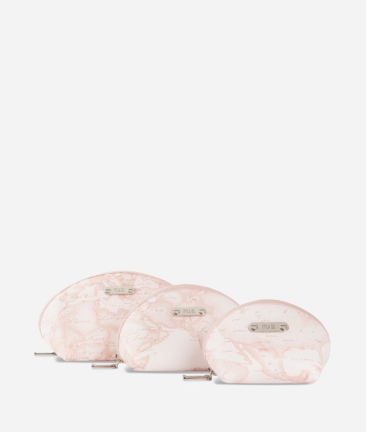 Set containing three pouches in pink Geo fabric,front