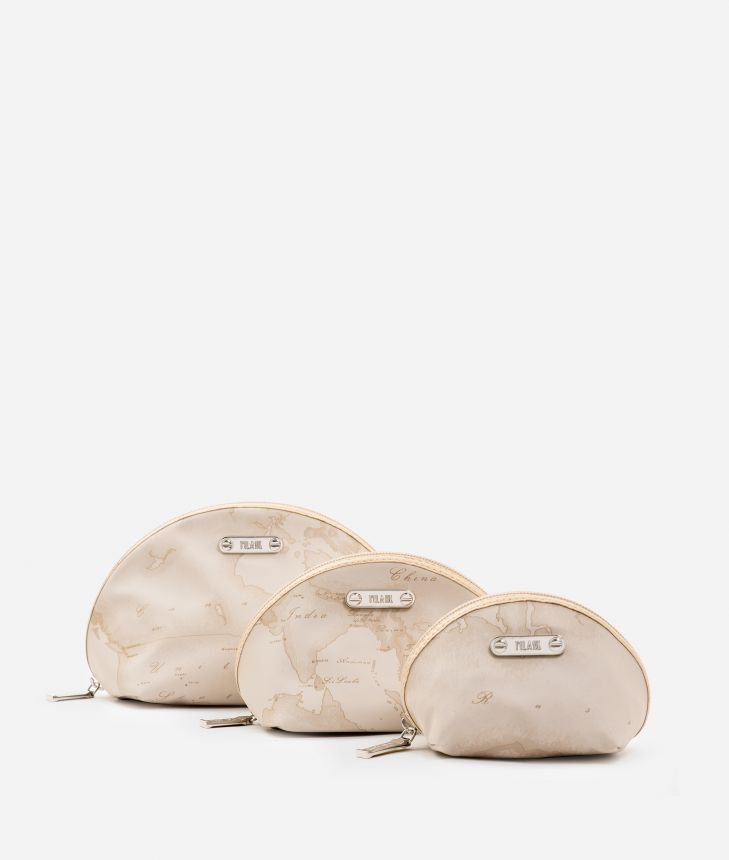 Set containing three pouches in beige Geo fabric,front