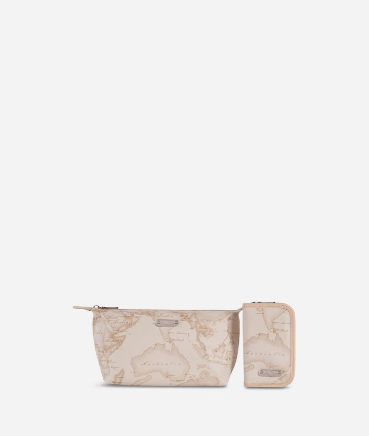 Make-up bag and manicure set in beige Geo fabric,front