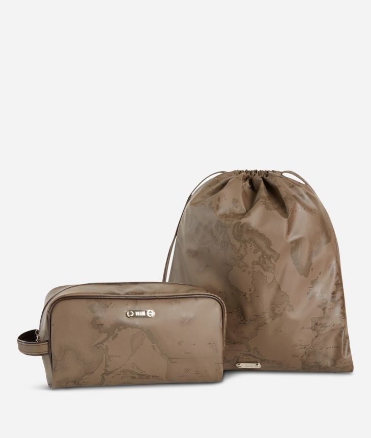 Beauty case and sack set in brown Geo fabric,front