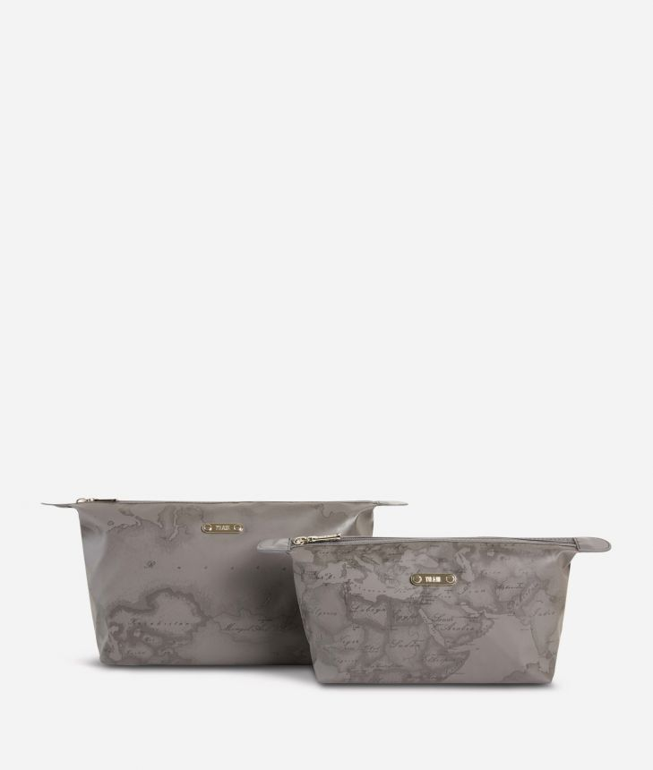 Medium-small make-up bag set in asphalt-grey Geo fabric,front