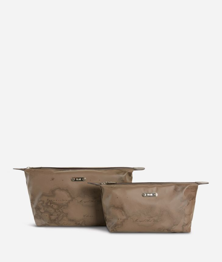 Medium-small make-up bag set in brown Geo fabric,front