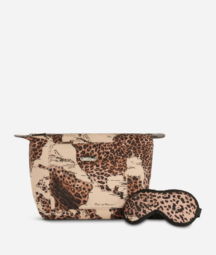 Pouch and sleeping mask set in animalier Geo fabric,front