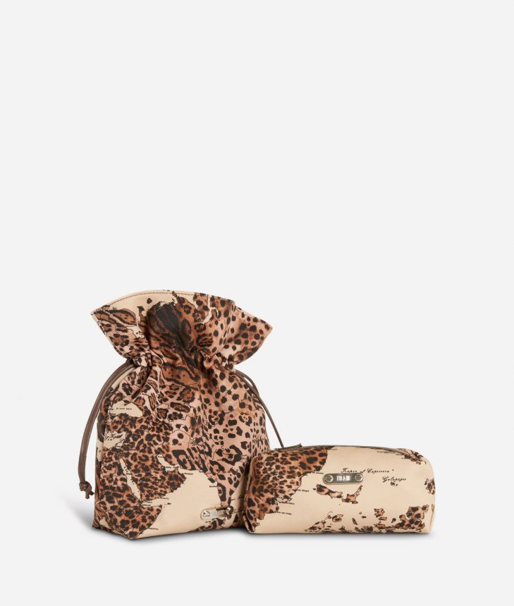 Pouch and beauty case set in animalier Geo fabric,front