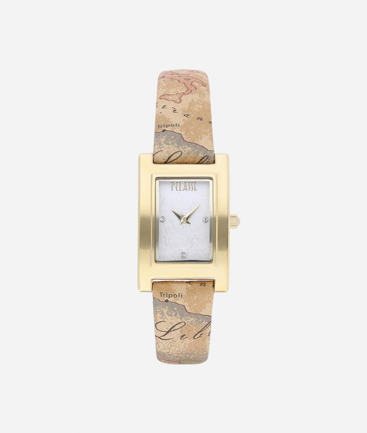 Panarea Watch with Geo Classic print leather strap,front