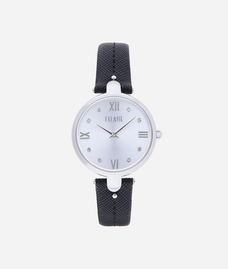 Santorini  Watch with saffiano leather strap Black,front
