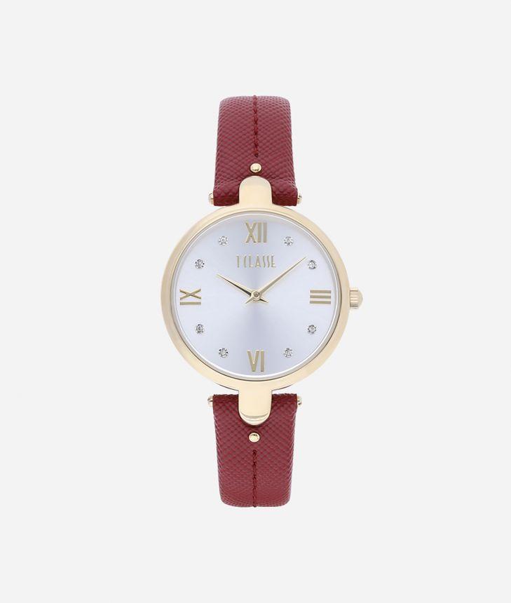 Santorini  Watch with saffiano leather strap Bordeaux,front