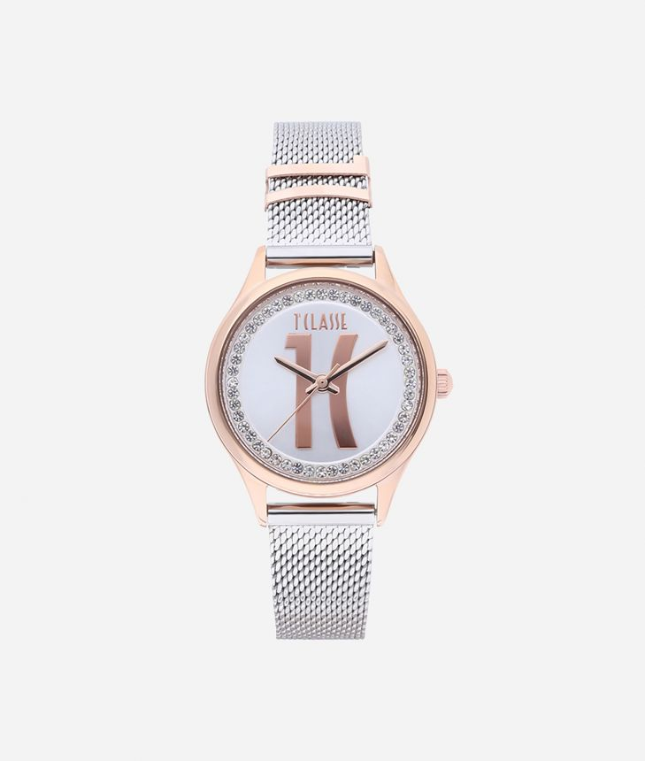 Mykonos Bicolor stainless steel watch Silver and Rose Gold,front