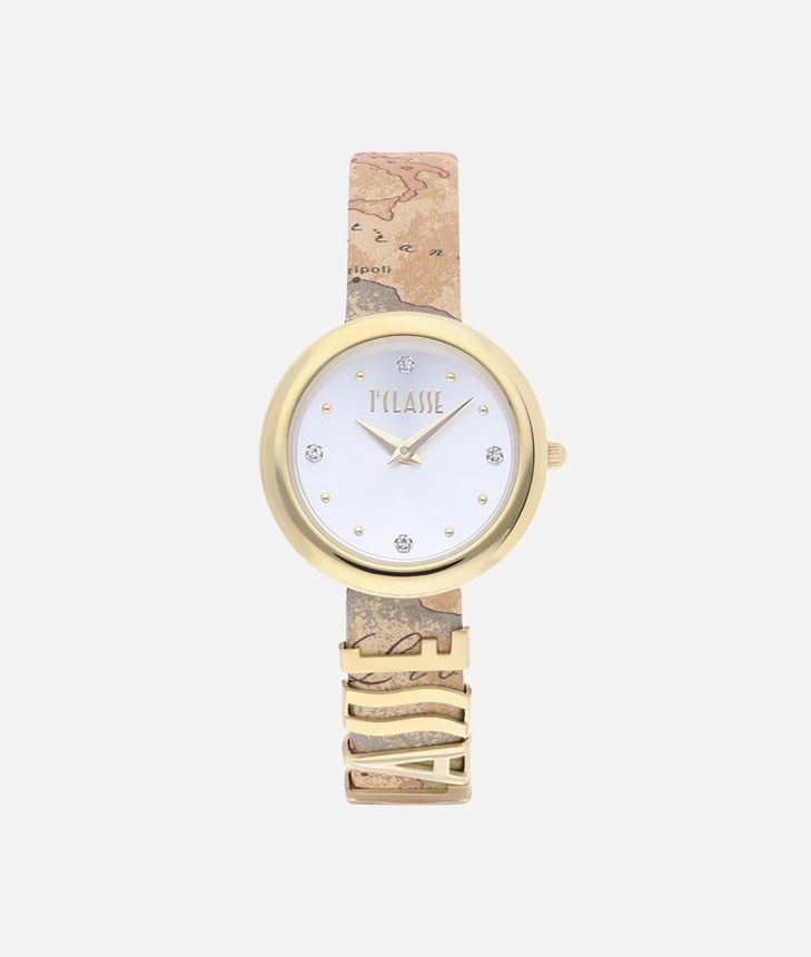 Antigua Watch with Geo Classic print leather strap,front