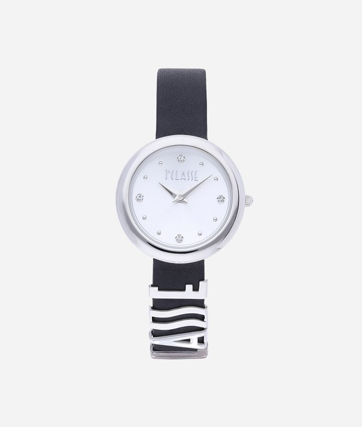 Antigua Watch with leather strap Black,front