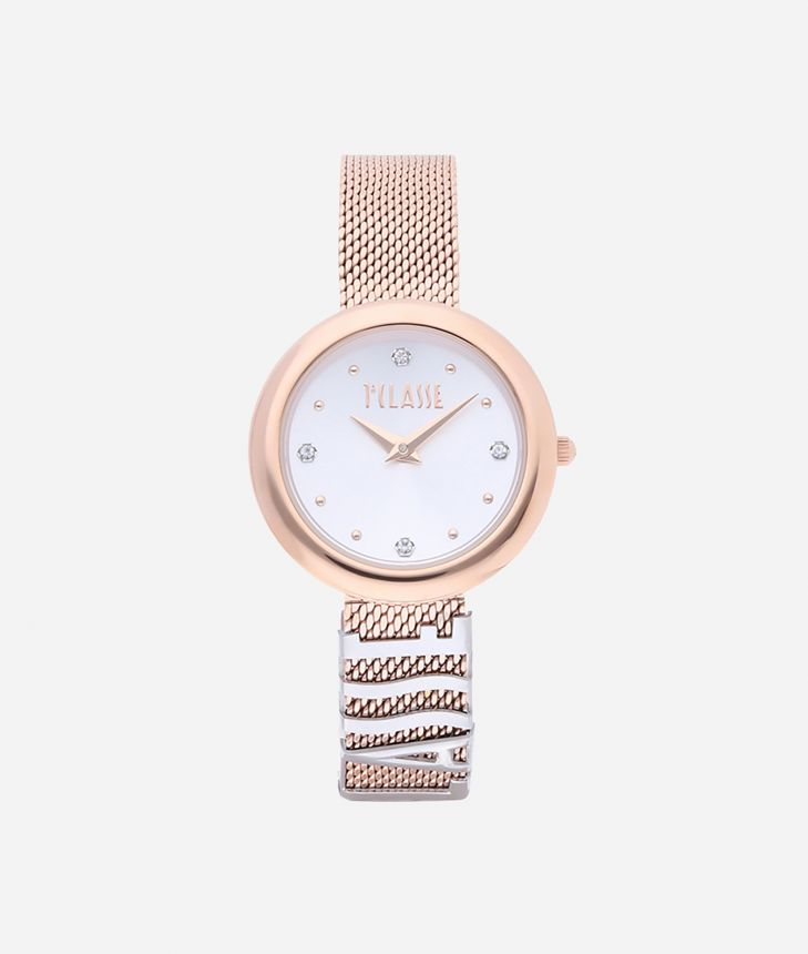 Antigua Bicolor stainless steel watch  Rose Gold and Silver,front
