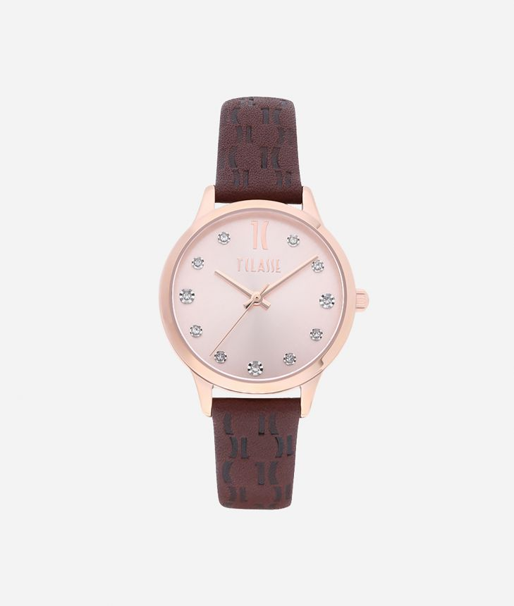 Formentera Watch with Monogram print leather strap Brown,front